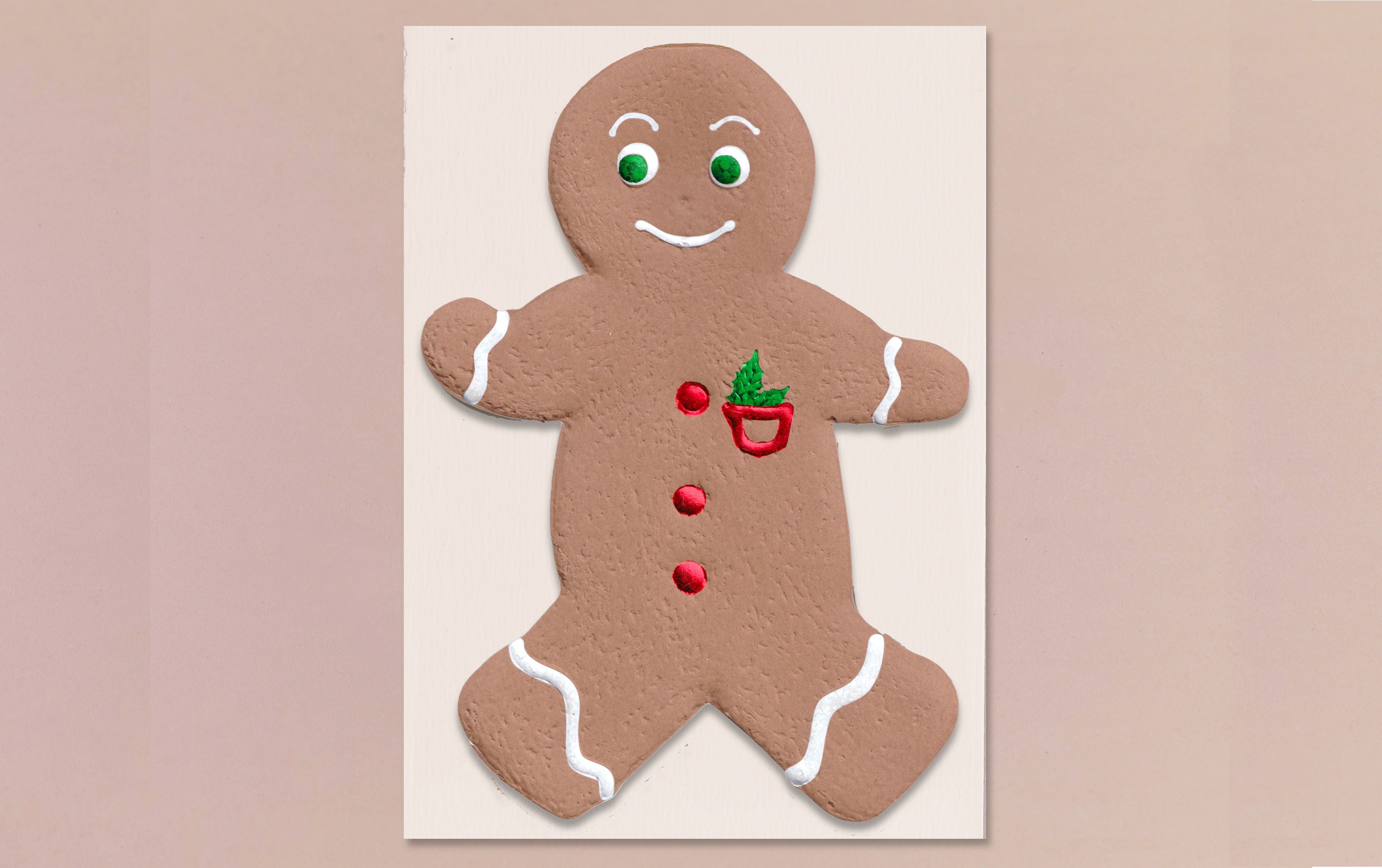 Engraved Ginger Bread Man Christmas Card