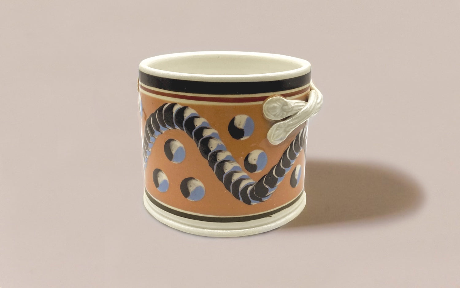 Large Persimmon Mochaware Ceramic Pen Pot With Handles, 'Earthworm'
