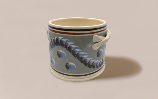 Large Duck Egg Mochaware Ceramic Pen Pot With Handles, 'Earthworm'