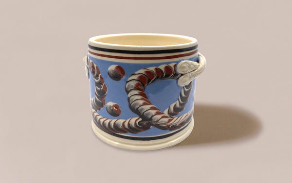 Large Blue Mochaware Ceramic Pen Pot With Handles, 'Earthworm'