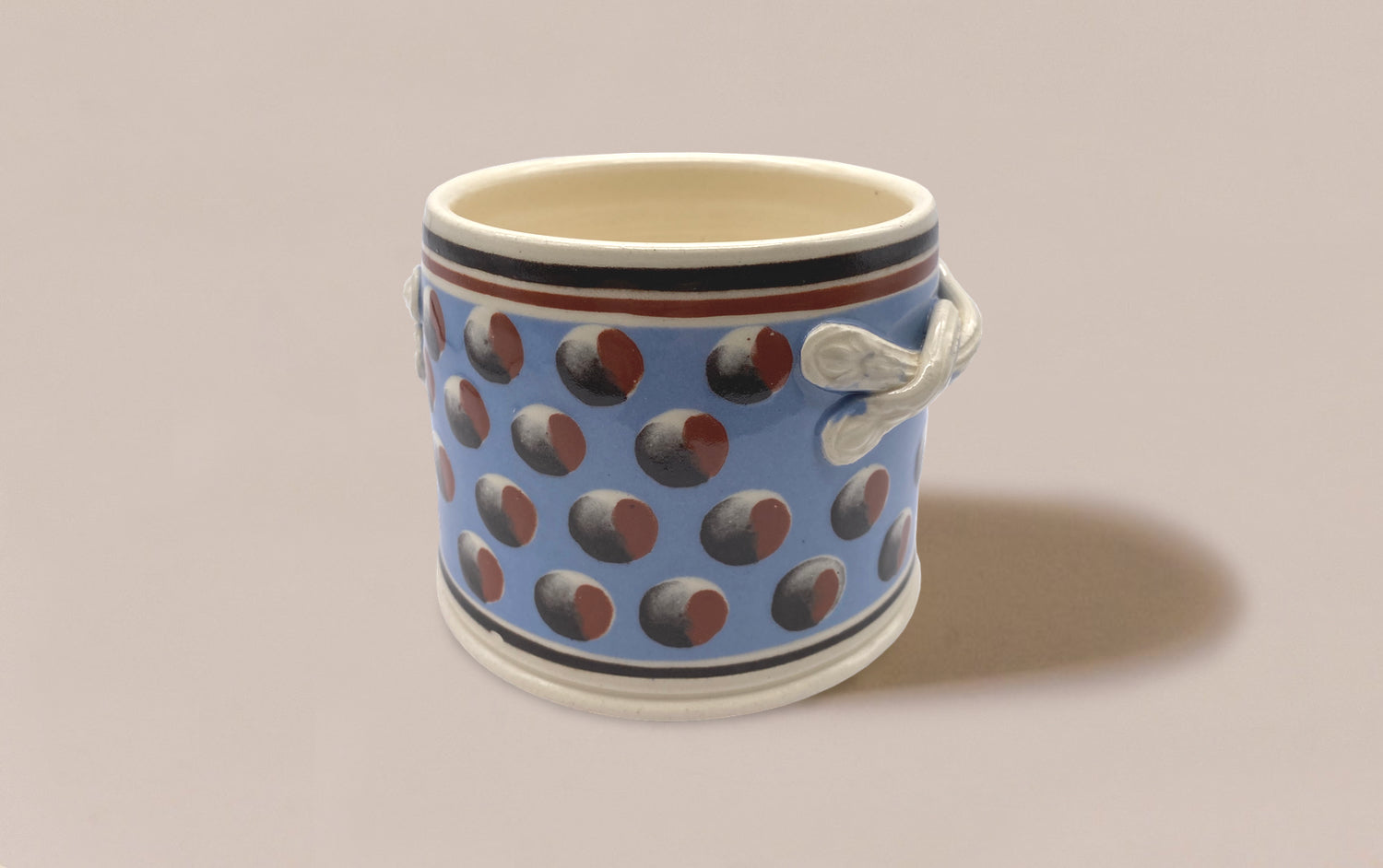 Large Blue Mochaware Ceramic Pen Pot With Handles, 'Cat Eye'