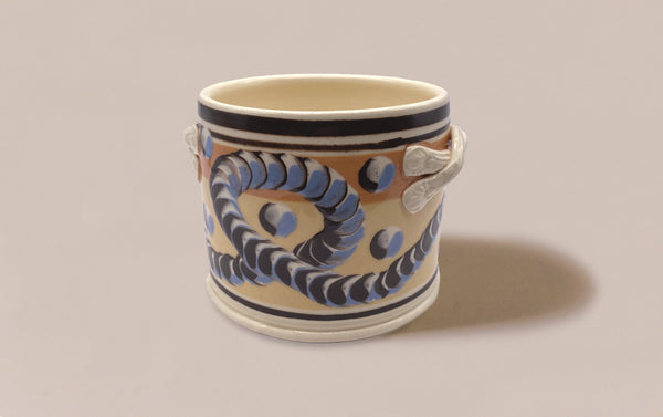 Large Dual-Tone Mochaware Ceramic Pen Pot With Handles, 'Earthworm'