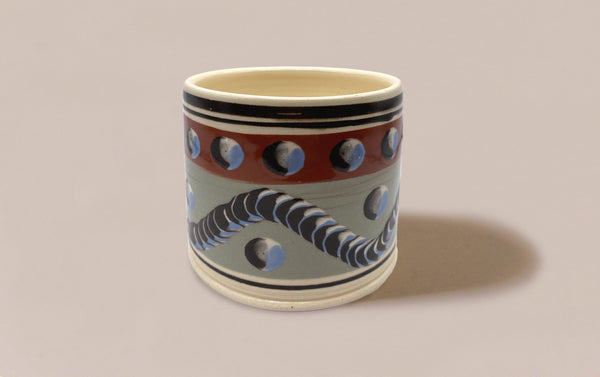 Large Dual-Tone Mochaware Ceramic Pen Pot, 'Earthworm'