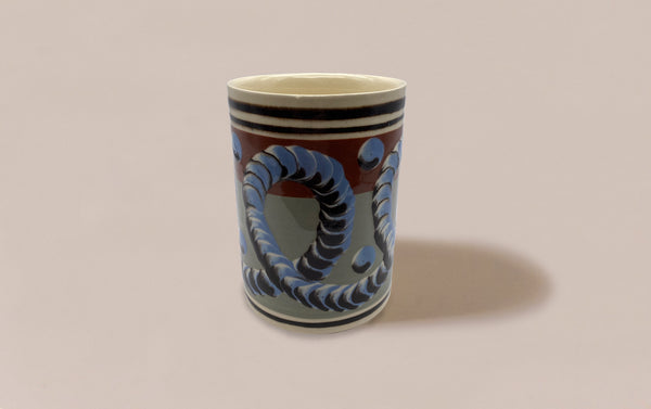 Small Dual-Tone Mochaware Ceramic Pen Pot, 'Earthworm'
