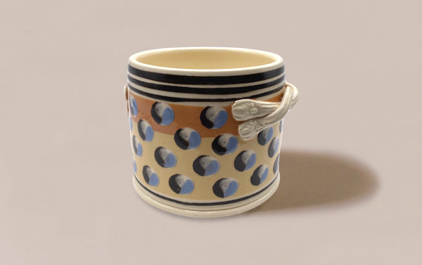 Large Dual-Tone Mochaware Ceramic Pen Pot With Handles, 'Cat Eye'