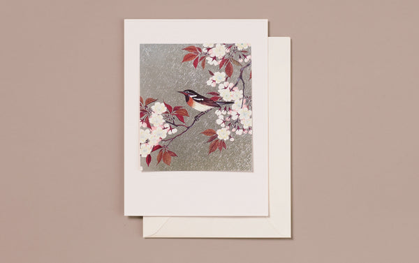 Large Silver Foil Bird on a tree branch Greeting Card
