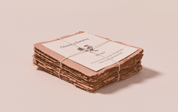 20 Handmade Tan Paper Cards