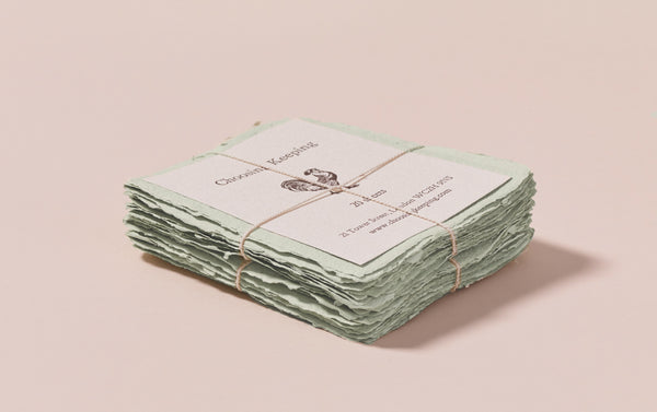 20 Handmade Mint Paper Cards