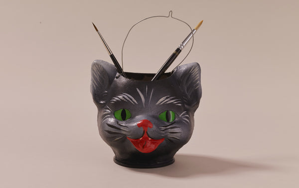 Papier-mâché Fancy Cat Face Pen Bucket