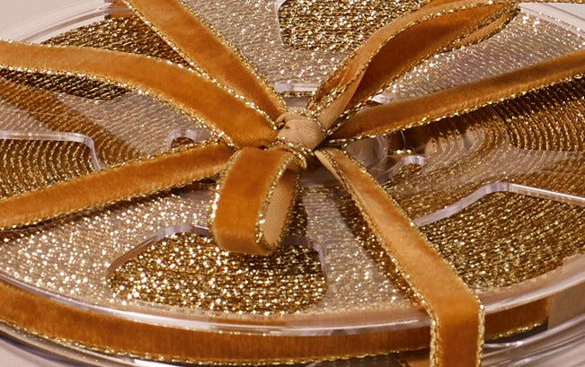 Premium Decorative Ribbon, 10m roll - Retro Gold-edged Velour