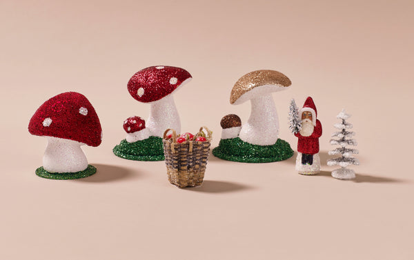 Small Papier-mâché Toadstools and Small Friends tabletop decorations