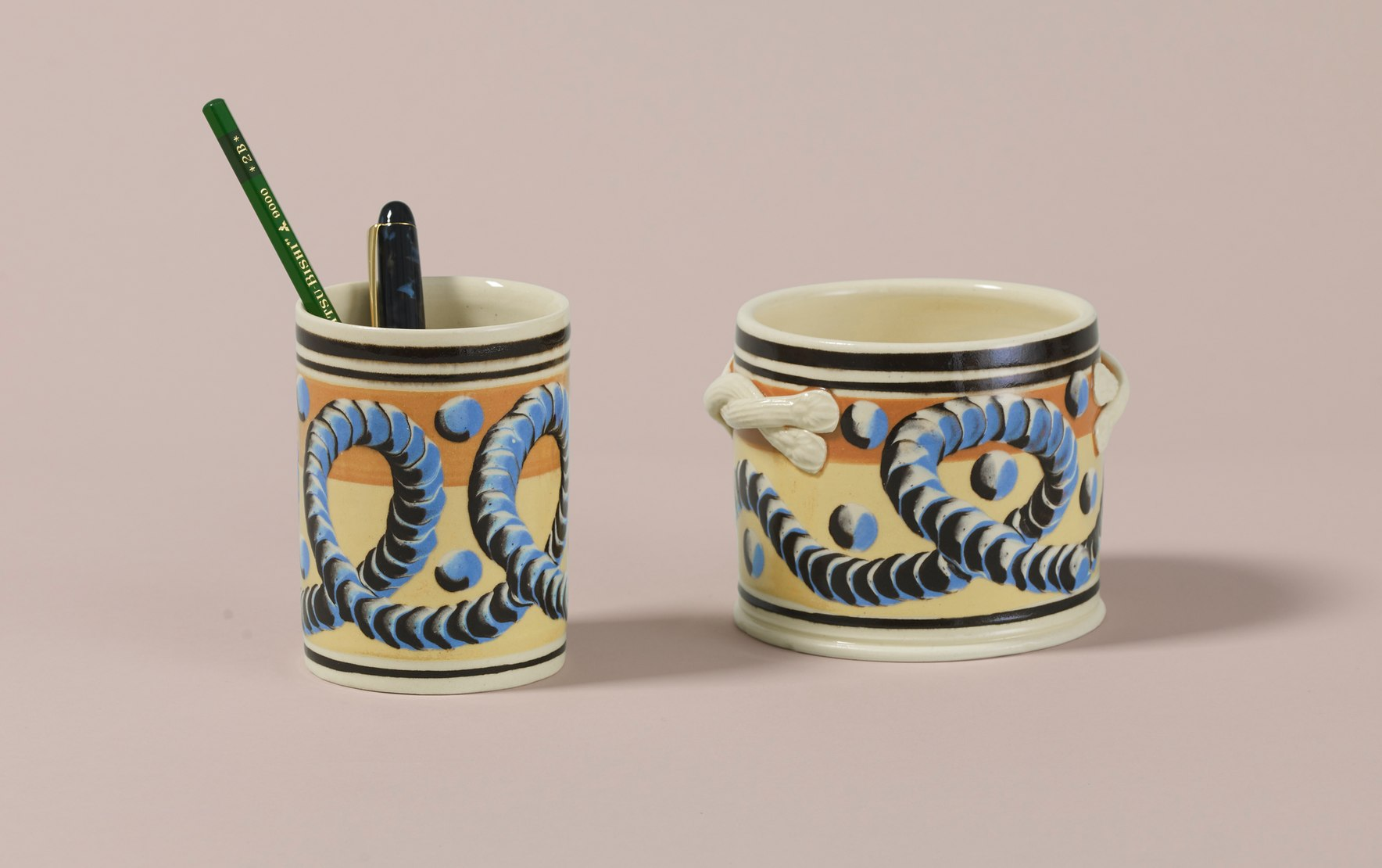 Dual-Tone Persimmon & Yellow Mochaware Ceramic Pen Pot, 'Earthworm'