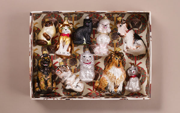 Cats and Dogs Christmas Handblown Glass Ornament Box