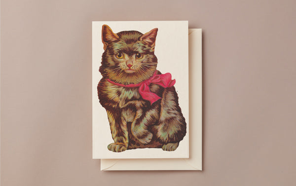 Embossed Die Cut Greeting Card, Cat Face
