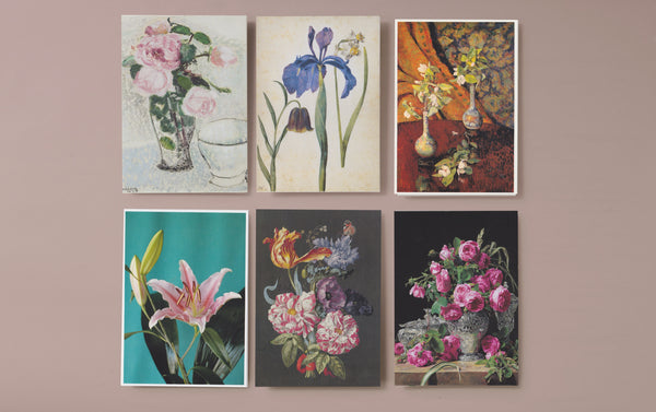 Set of 6 Floral Art Postcards