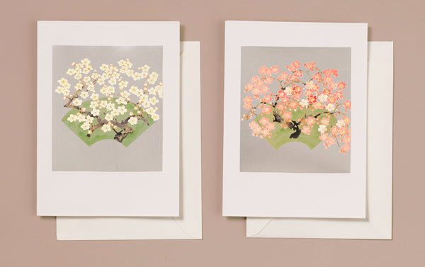 Silver Foil Japanese Pink and White Blossoms Greeting Card