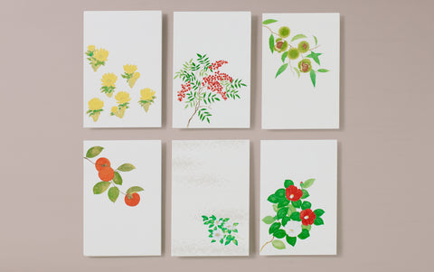 Set of 6 Japanese Botanical Postcards, No 4