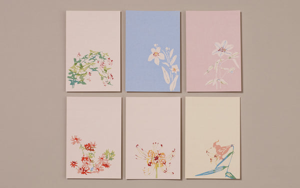Set of 6 Japanese Botanical Postcards, No 1