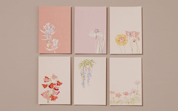 Set of 6 Japanese Botanical Postcards, No 2