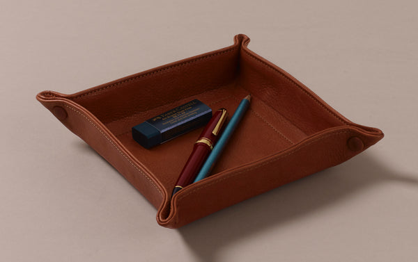 Square Tan Leather Desk Tray