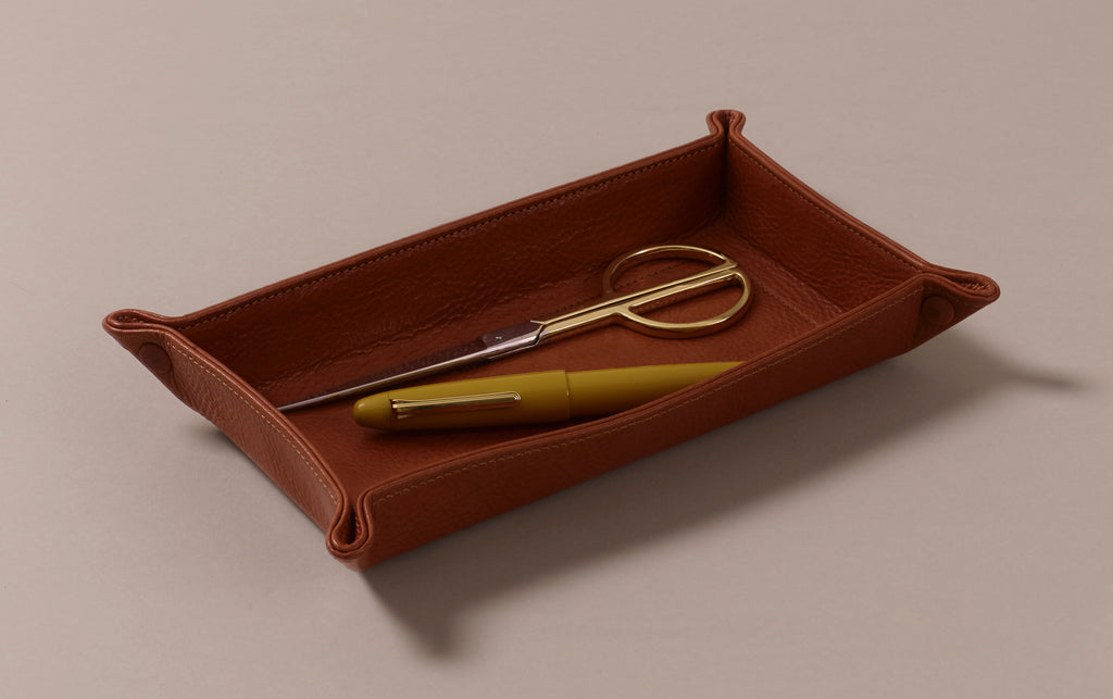 Tan Rectangular Leather Desk Tray