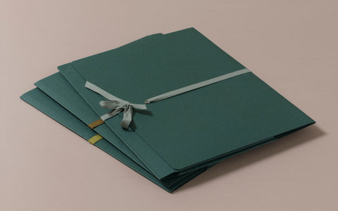 A4 Archival Folder with Cotton Ribbon, Dark Green