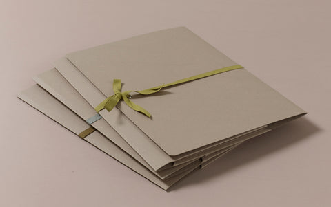 A4 Archival Folder with Cotton Ribbon, Beige