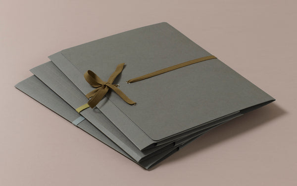 A4 Archival Folder with Cotton Ribbon, Grey