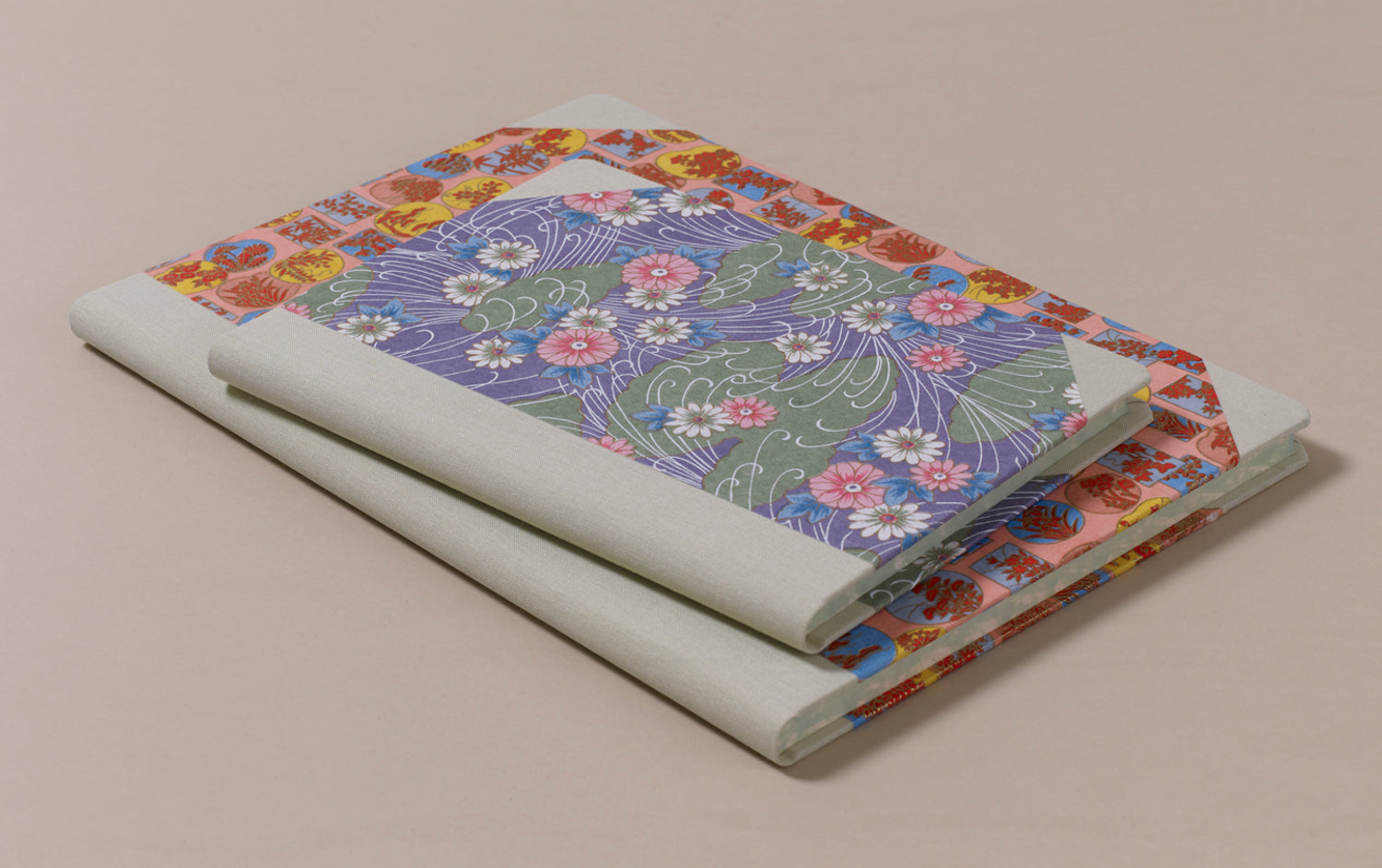 "Hardback ""Composition Ledger"" Chiyogami Notebook, Mint Spine"