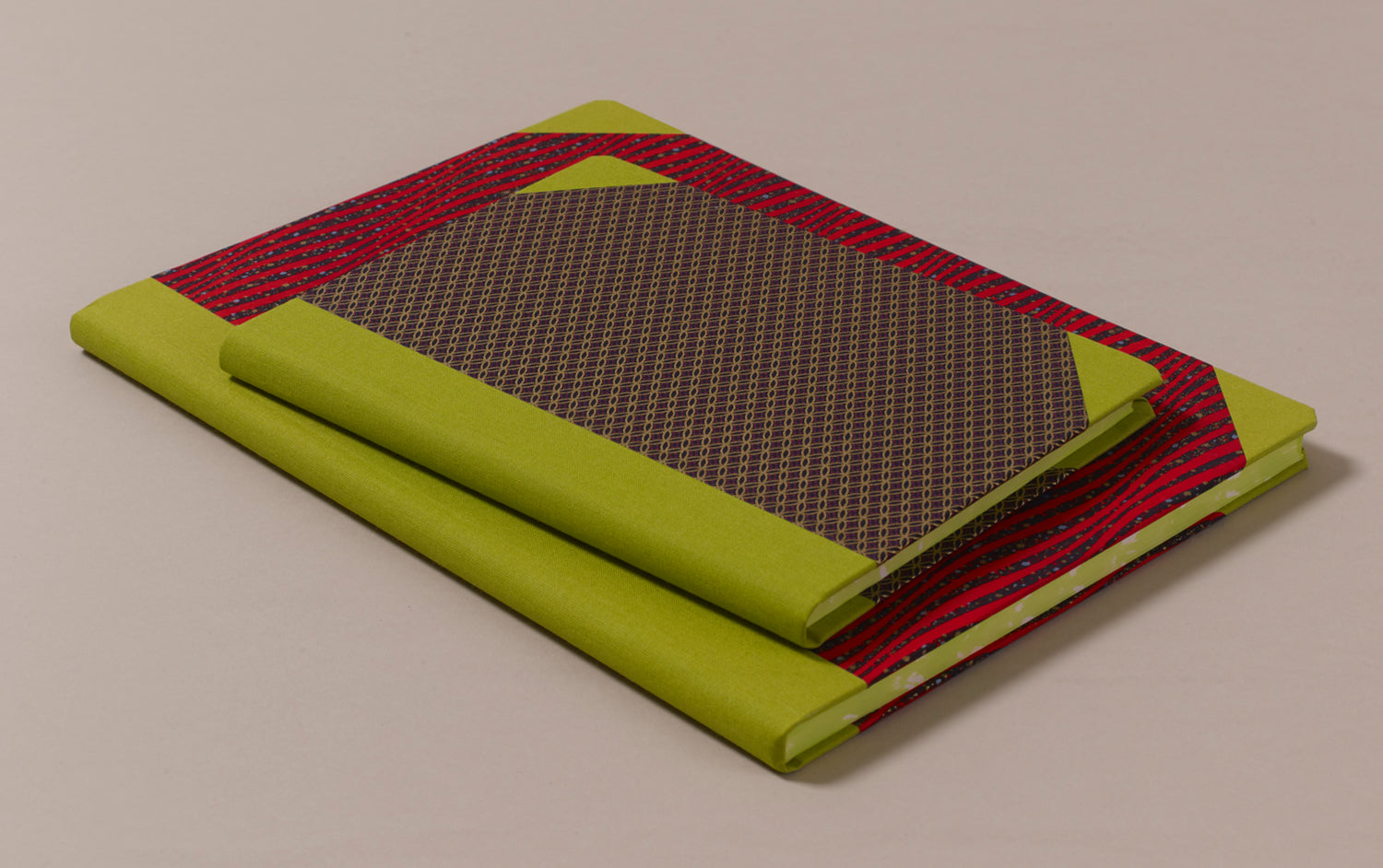 "Hardback ""Composition Ledger"" Chiyogami Notebook, Lime Spine"