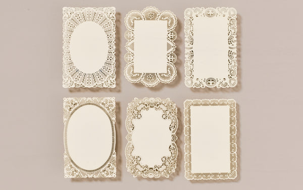 Set of 6 Lace Postcards and matching envelopes, No. 1