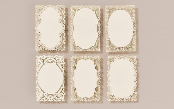 Set of 6 Lace Postcards and matching envelopes, No. 2