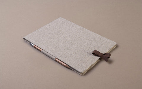 Linen bound drawing and mixed media sketchbook