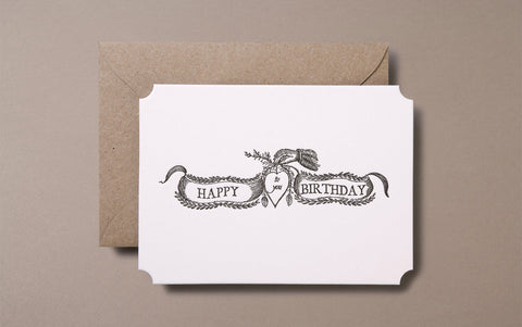 Letterpress Happy Brithday Greeting Card