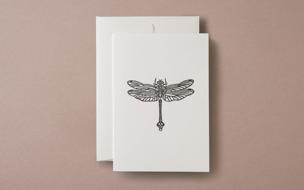 Linocut Print Dragonfly Insects Greeting Card
