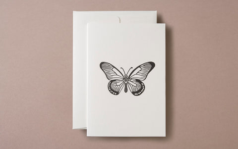 Linocut Print Butterfly Insects Greeting Card
