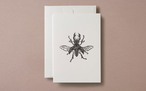 Linocut Print Stag Beetle Insects Greeting Card