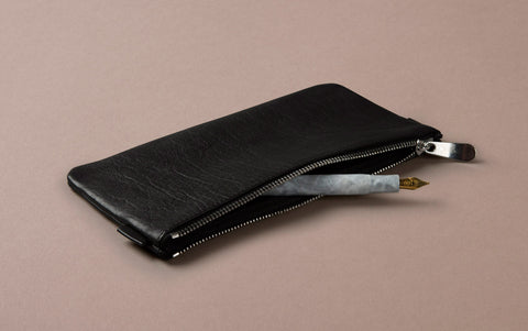 Black Leather Medium Pencil Case