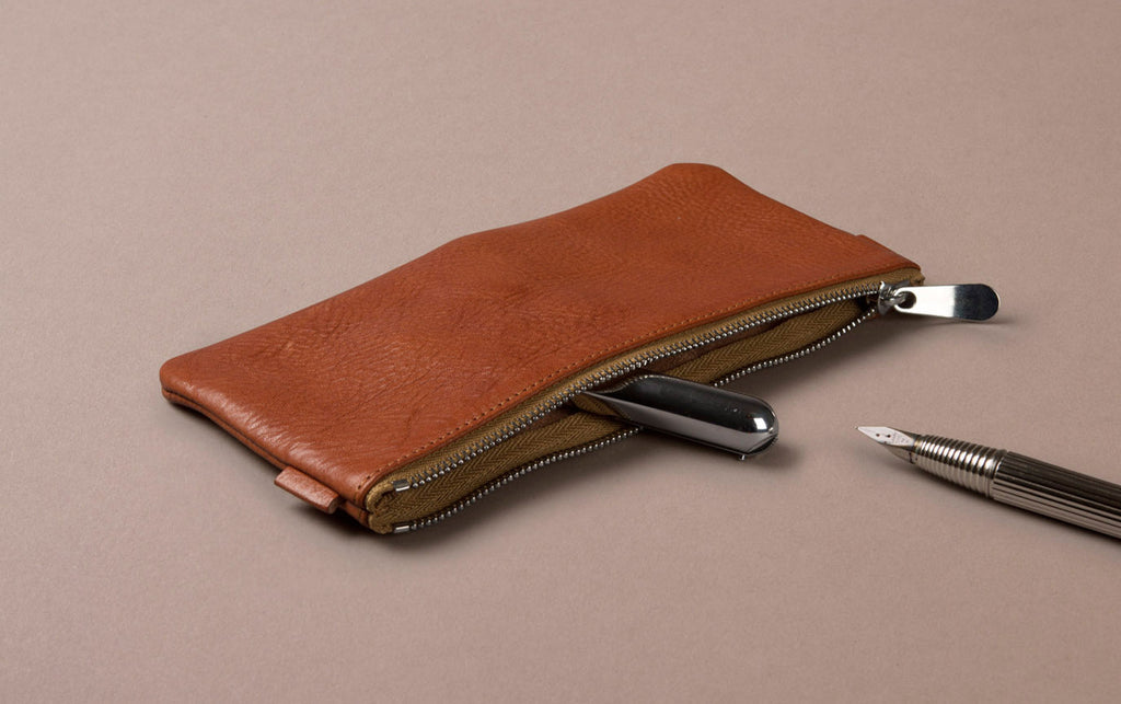 Tan Leather Medium Pencil Case