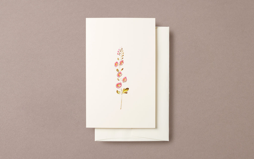Tiny Pink Daisy Embossed Greeting Card