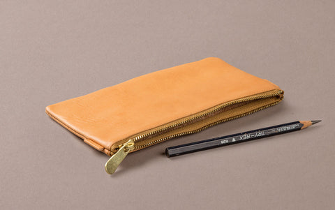 Nude Leather Medium Pencil Case