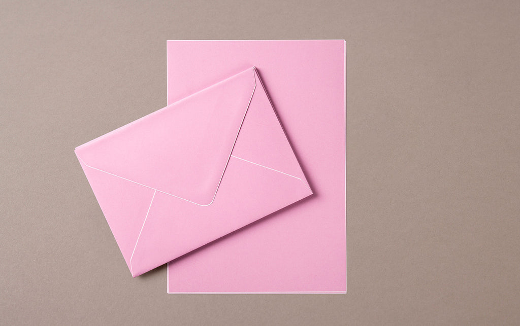 A5 - 5 Sheets 5 Envelopes - Letter Writing Set Pink/White