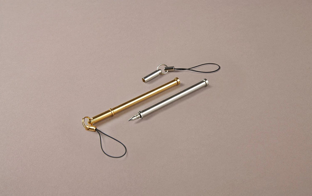 Brass and Chrome Keychain Ballpoint Pen