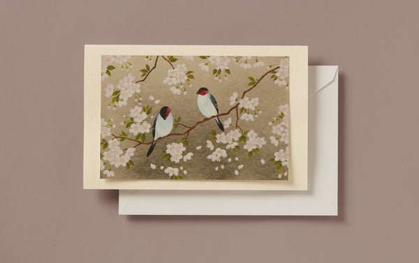 Silver Foil Bird Pair Greeting Card