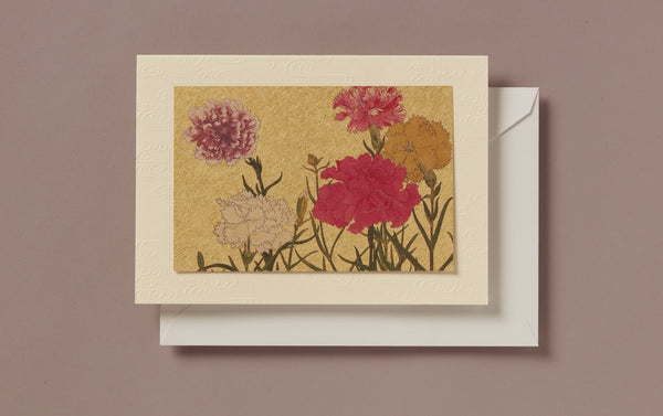 Matte Gold Foil Peonies Greeting Card