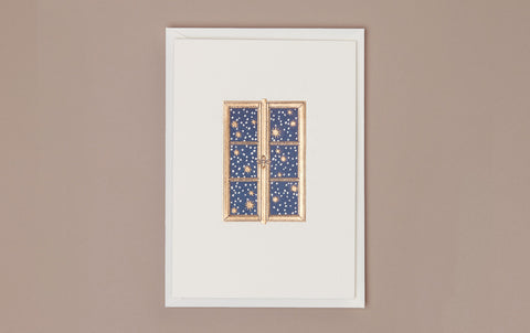 Engraved Starry Night and Snowflakes Greeting Card