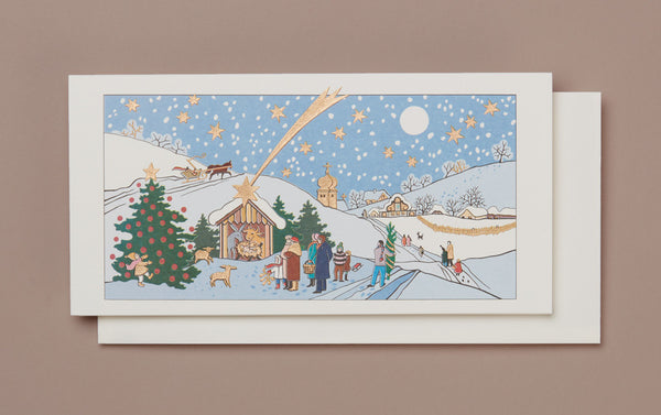 Engraved Winter Christmas Scene Christmas Card
