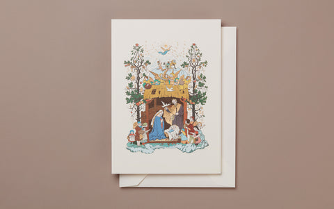 Engraved Nativity Scene Christmas Card