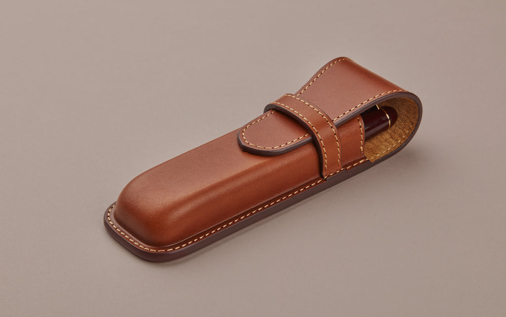 Tan cordovan leather double pen case