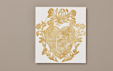 Gold Heart and Flowers Print